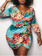 V-Neck  Printed Plus Size Bodycon Dresses