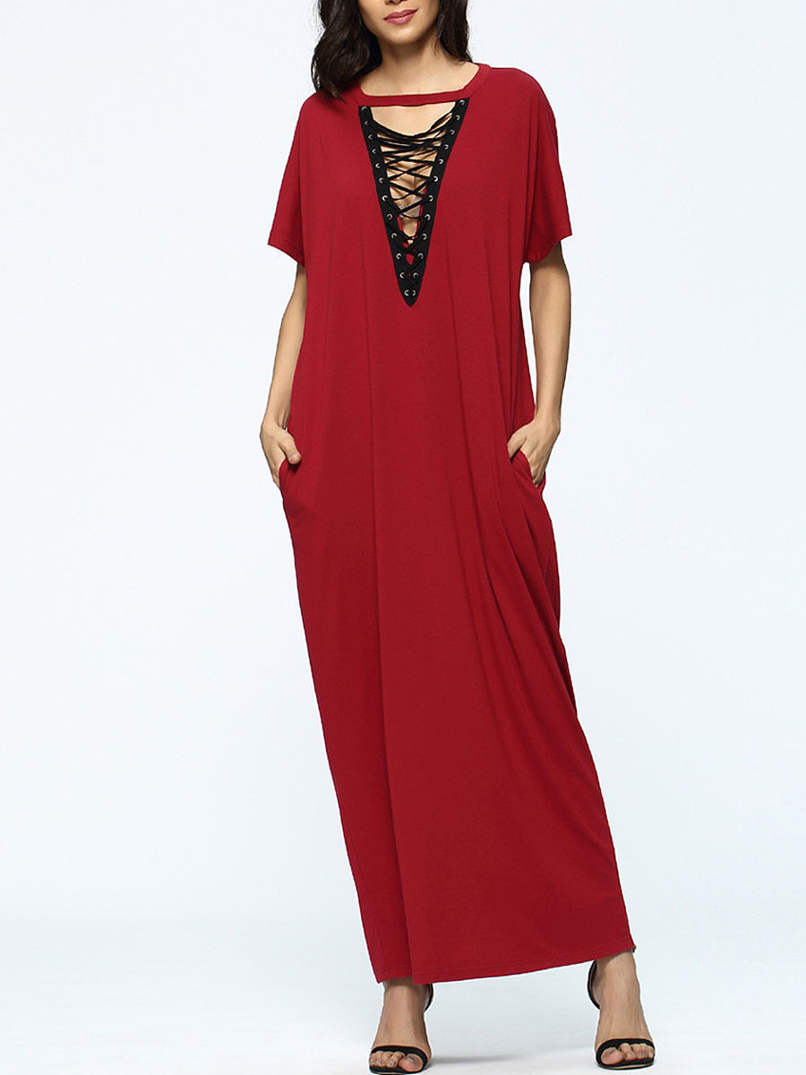 Deep V-Neck Lace-Up Hollow Out Pocket Maxi Dress