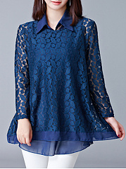 Turn Down Collar  Lace Blouses