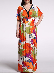 Designed Color Block Printed Deep V-Neck  Plus Size  Maxi Dress