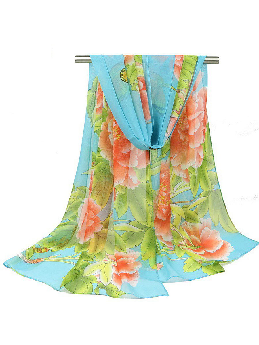 Peony And Butterfly Printed Chiffon Long Scarf