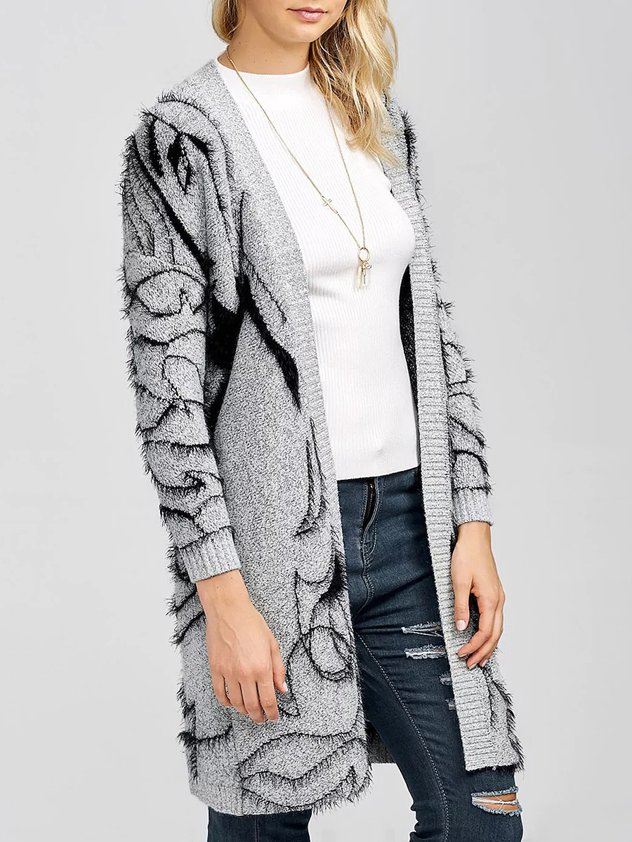 Collarless Pocket Brocade Long Cardigan