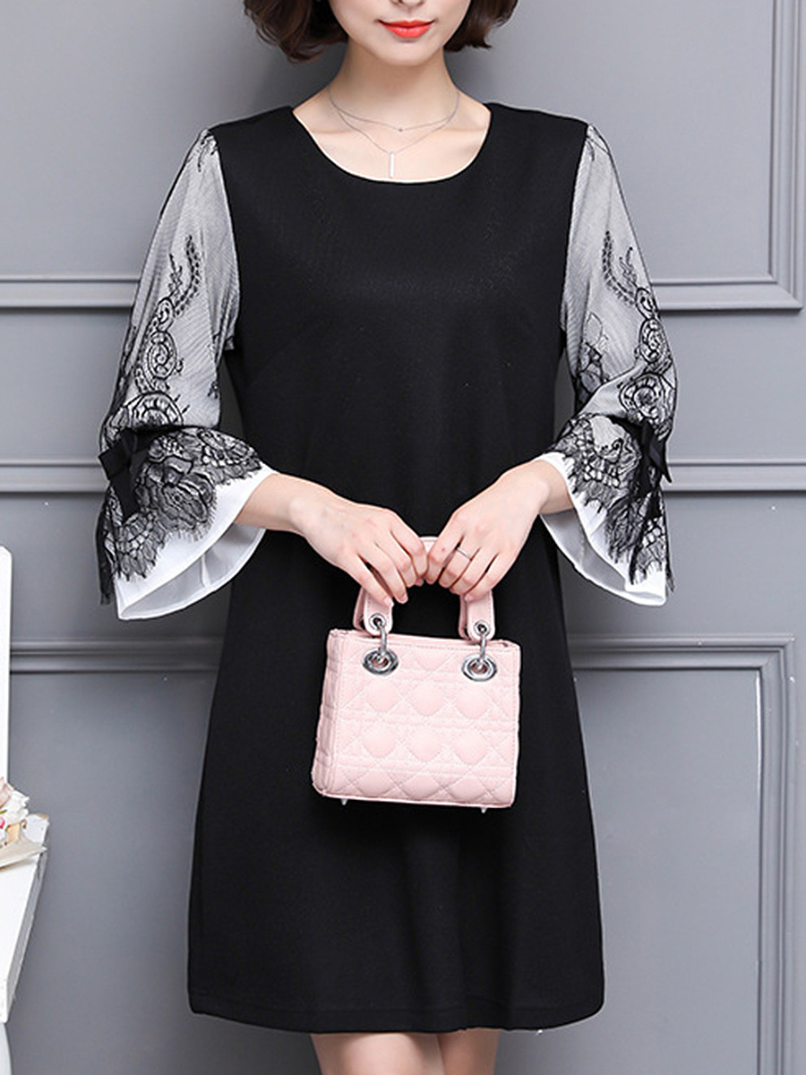 Round Neck Decorative Lace Bell Sleeve Shift Dress