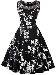 Vintage-Summer-Floral-Printed-See-Through-Skater-Dress