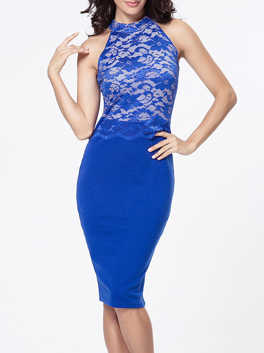 Band Collar Decorative Lace Patchwork Bodycon Dress