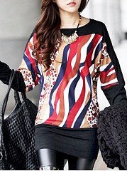 Round-Neck-Color-Block-Long-Sleeve-T-Shirts