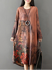 Oversized-Round-Neck-Floral-Printed-Maxi-Dress