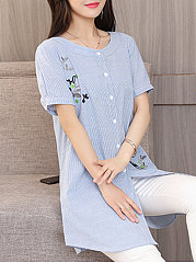 Summer  Cotton  Women  Round Neck  Asymmetric Hem Single Breasted  Embroidery  Short Sleeve Blouses