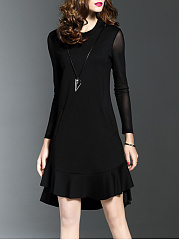 Round Neck Pocket Plain Skater Dress