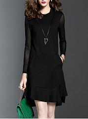 Round-Neck-Pocket-Plain-Skater-Dress