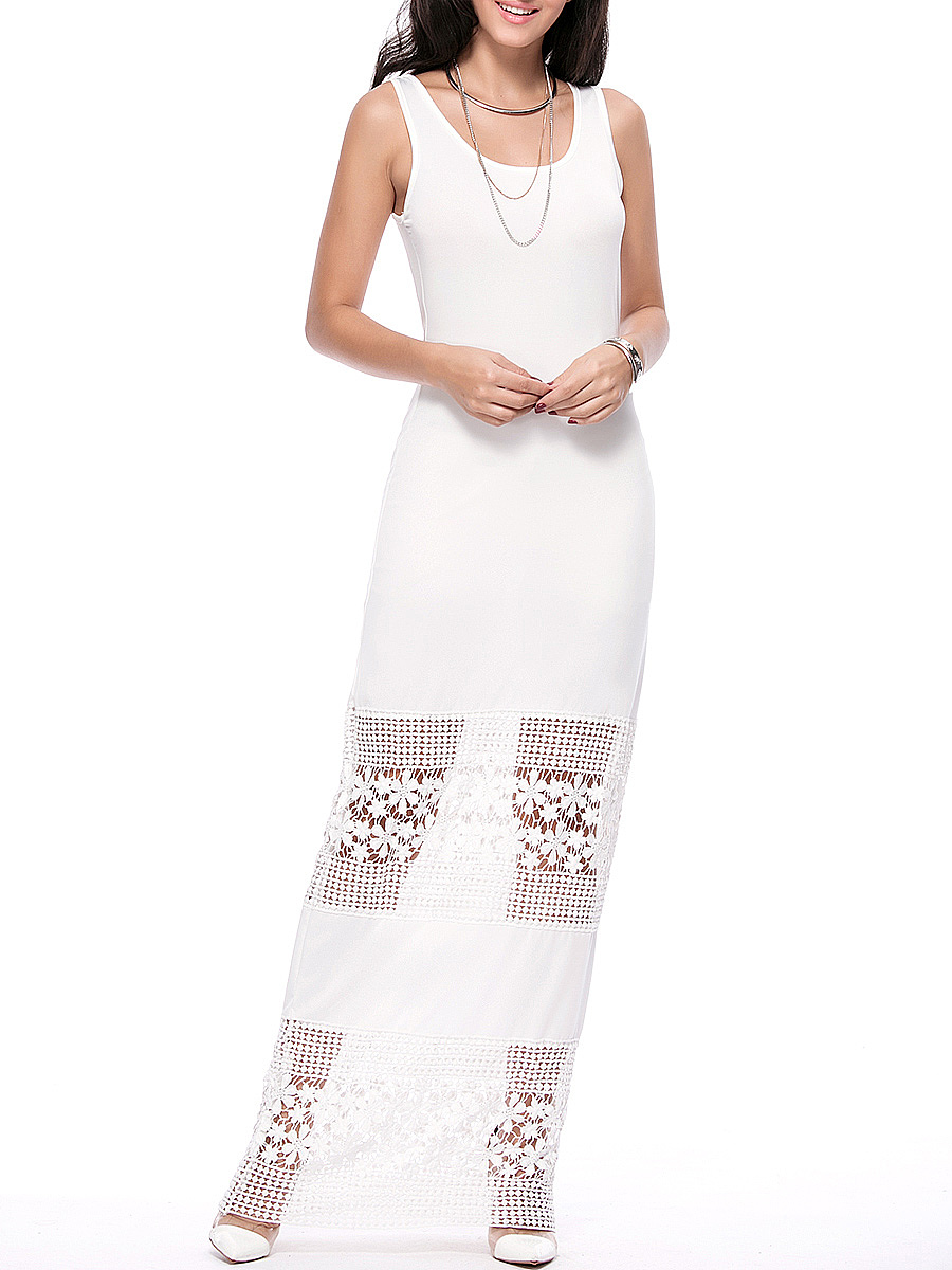 Scoop Neck Delicate Hollow Out Solid Maxi Dress