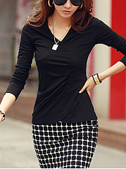 V-Neck Plain Ruched Long Sleeve T-Shirt