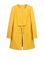 Collarless-Bowknot-Snap-Front-Plain-Woolen-Coat