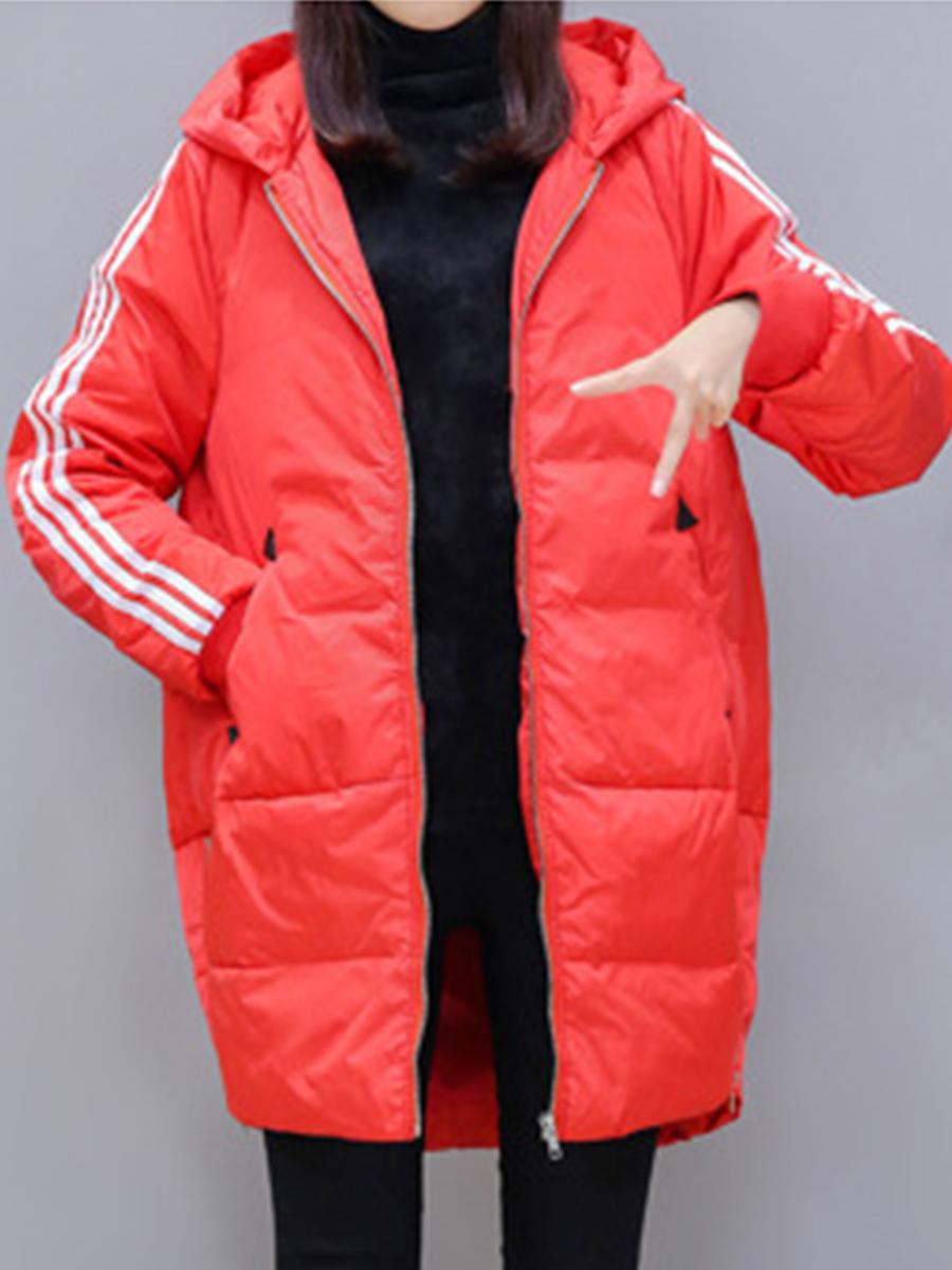 Hooded Zips Plain Striped Long Sleeve Coats