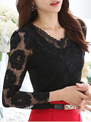 Autumn Spring  Polyester  Women  V-Neck  Lace  Long Sleeve Blouses
