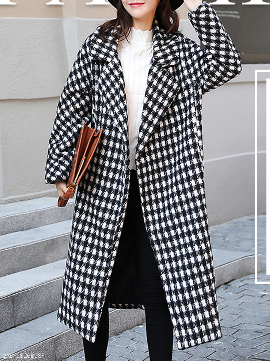 Lapel  Houndstooth  Long Sleeve Coats