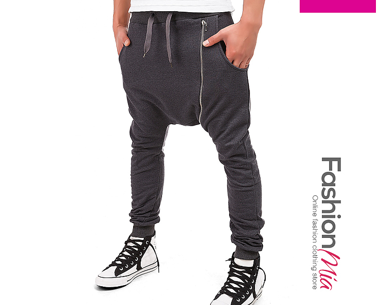 Zips  Plain  Slim-Leg  Mid-Rise Mens Casual Pants