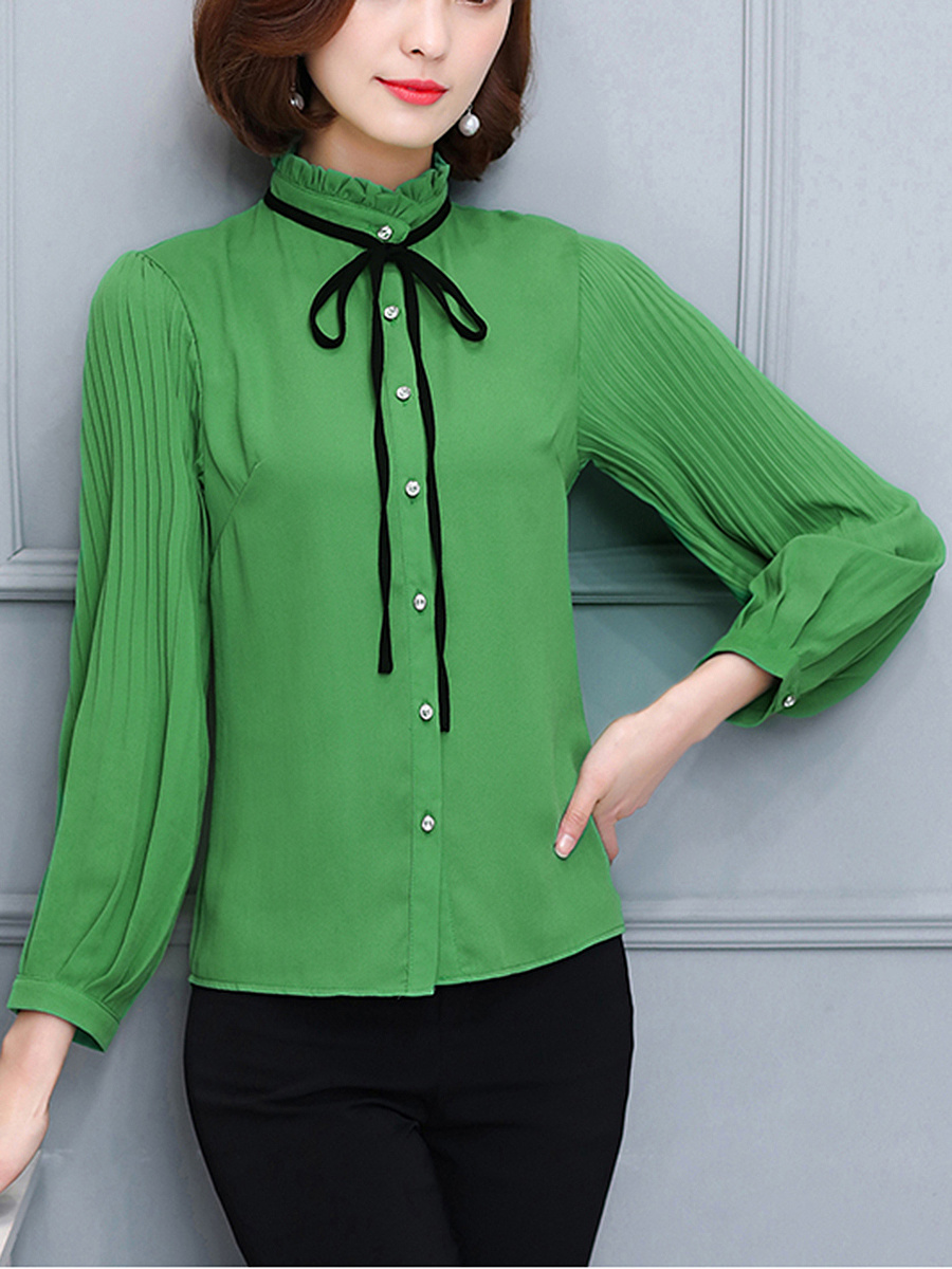 Band Collar Plain Blouse With Contrast Bowknot