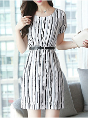 Round Neck  Printed Striped Bodycon Dress