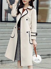 Lapel Contrast Trim Patch Pocket Belt Woolen Trench Coat
