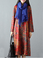 Round-Neck-Slit-Pocket-Tribal-Printed-Maxi-Dress