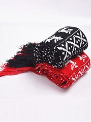 Warm Tassel Decoration Print Long Woolen Scarf For Winter