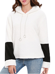 Hooded  Drawstring  Decorative Hardware  Color Block  Long Sleeve Hoodies