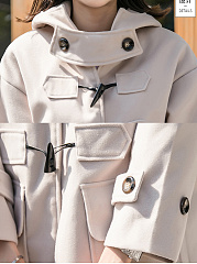 Hooded  Single Breasted  Decorative Button  Plain  Long Sleeve Coats