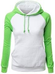 Kangaroo Pocket Color Block Raglan Sleeve Hoodie