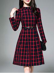 Band-Collar-Plaid-Belt-Pocket-Skater-Dress