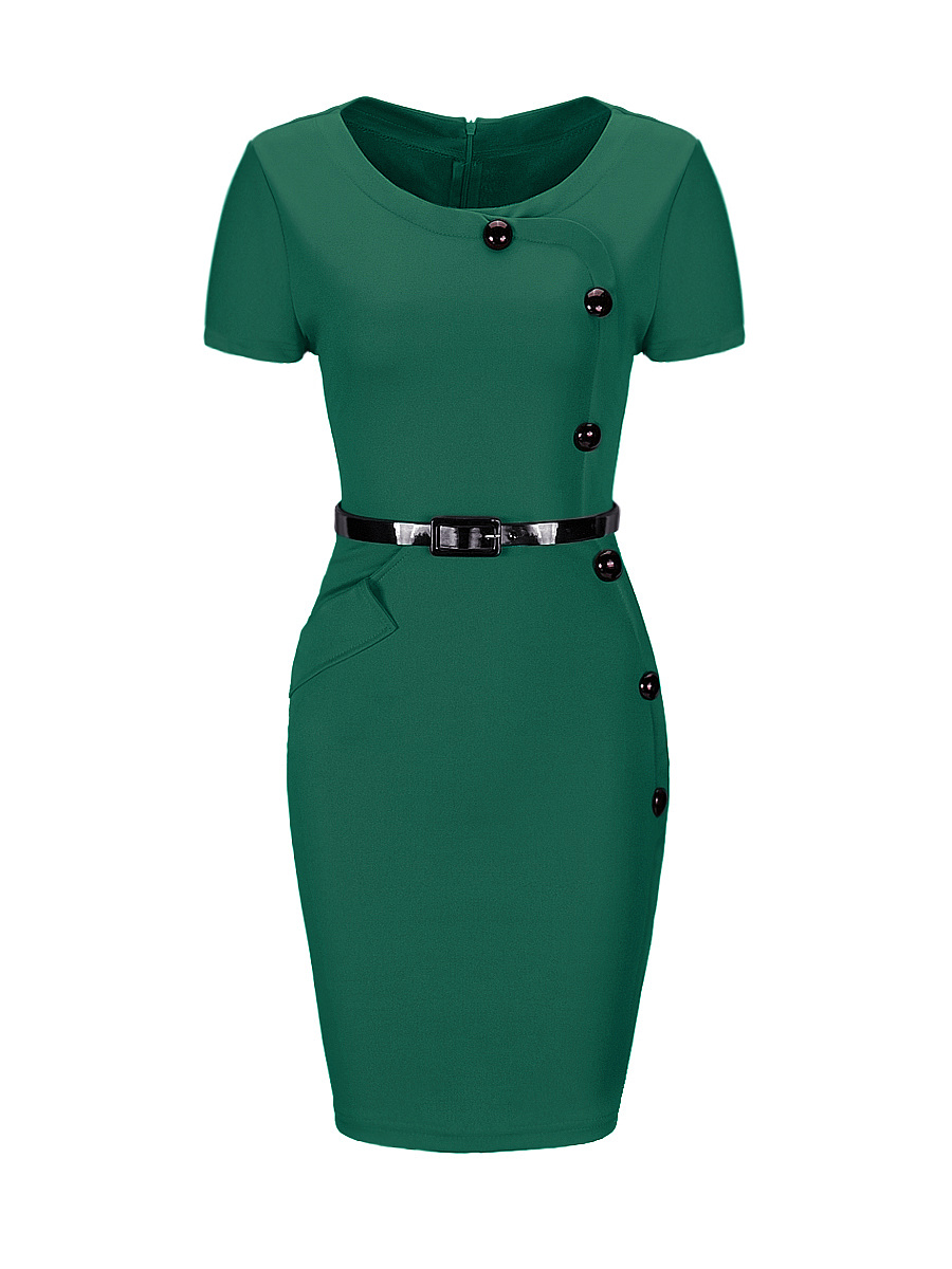 Crew Neck  Belt  Plain  Polyester Bodycon Dress