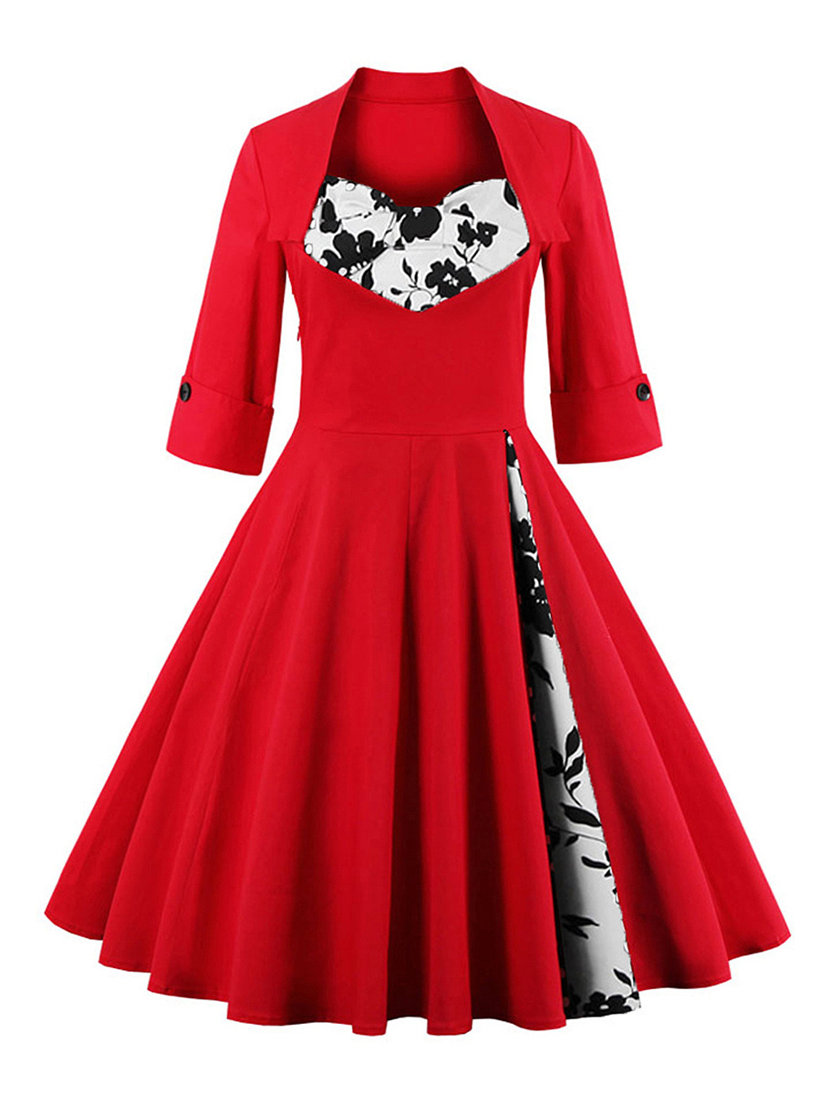 Color Block Floral Sweet Heart Plus Size Flared Dress