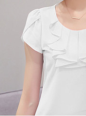 Summer  Polyester  Women  Round Neck  Flounce  Plain  Short Sleeve Blouses