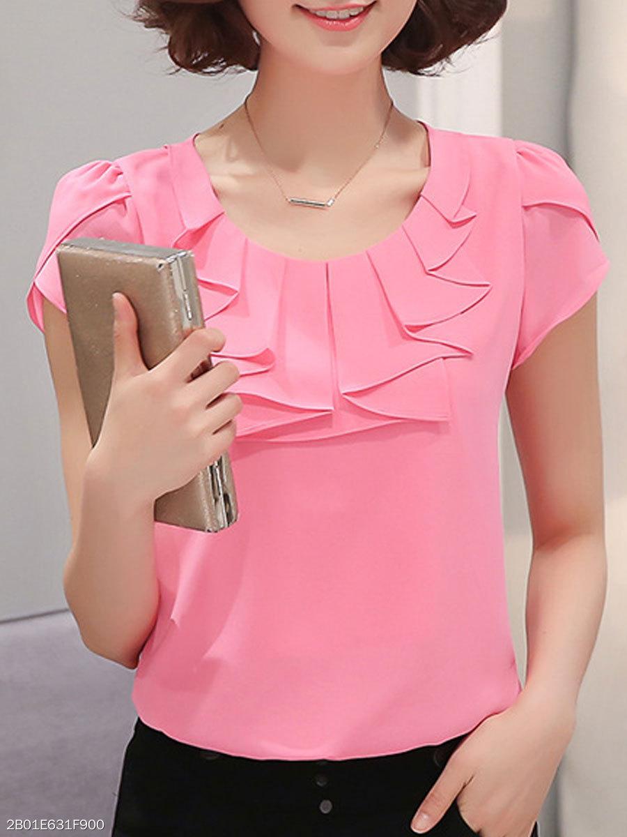 Summer Polyester Women Round Neck Flounce Plain Short Sleeve Blouses