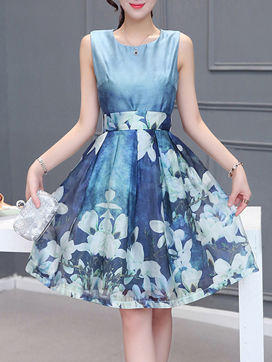 Round Neck Floral Printed Bowknot Skater Dress
