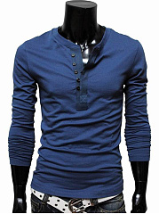 Henley Collar Men Plain T-Shirt