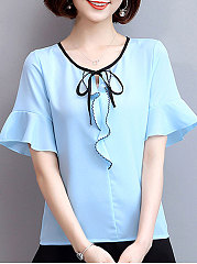 Summer  Chiffon  Women  Tie Collar  Contrast Piping  Plain  Bell Sleeve  Short Sleeve Blouses