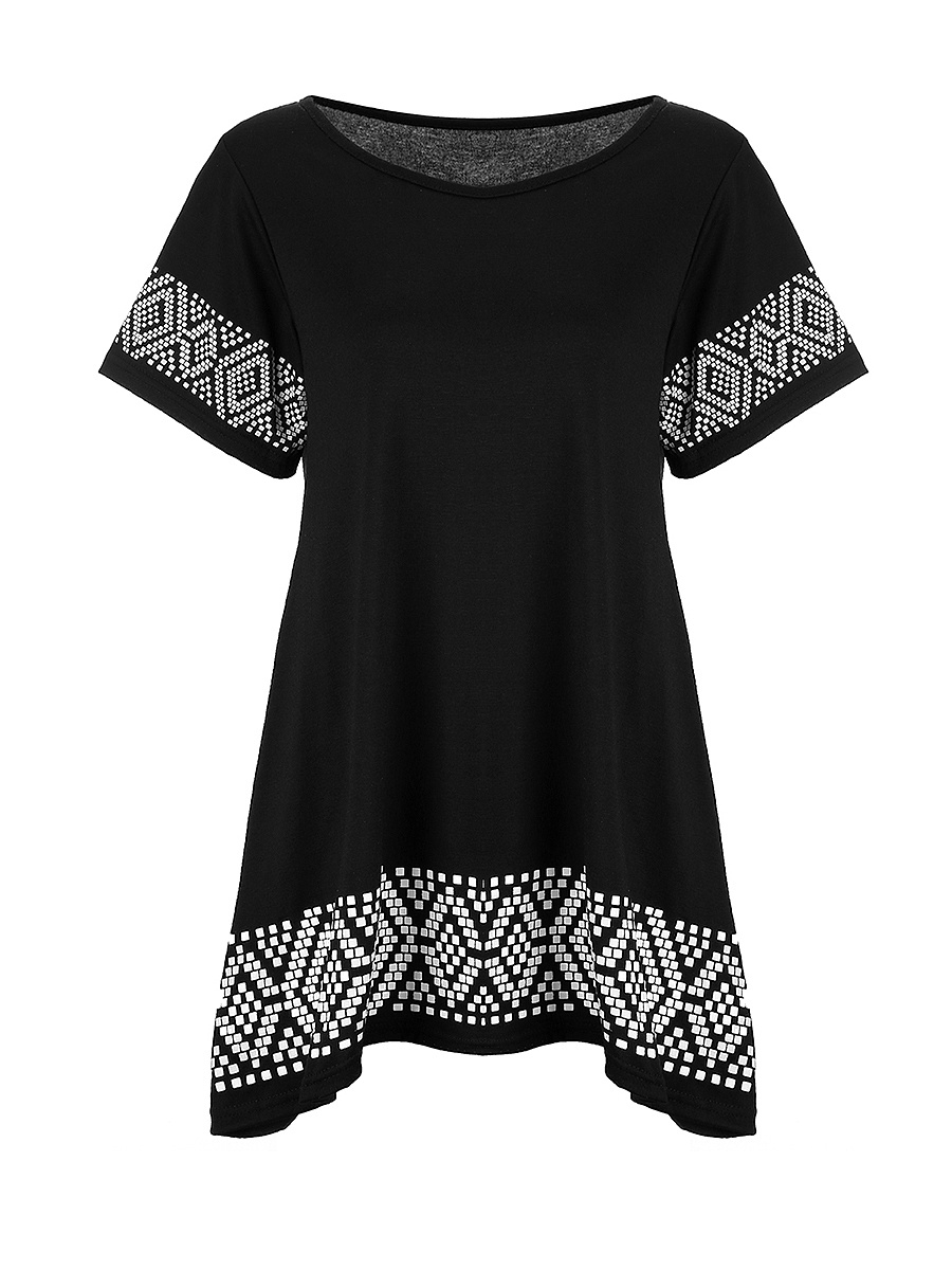 Loose Round Neck Printed Shift Dress