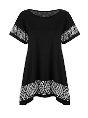 Loose-Round-Neck-Printed-Shift-Dress