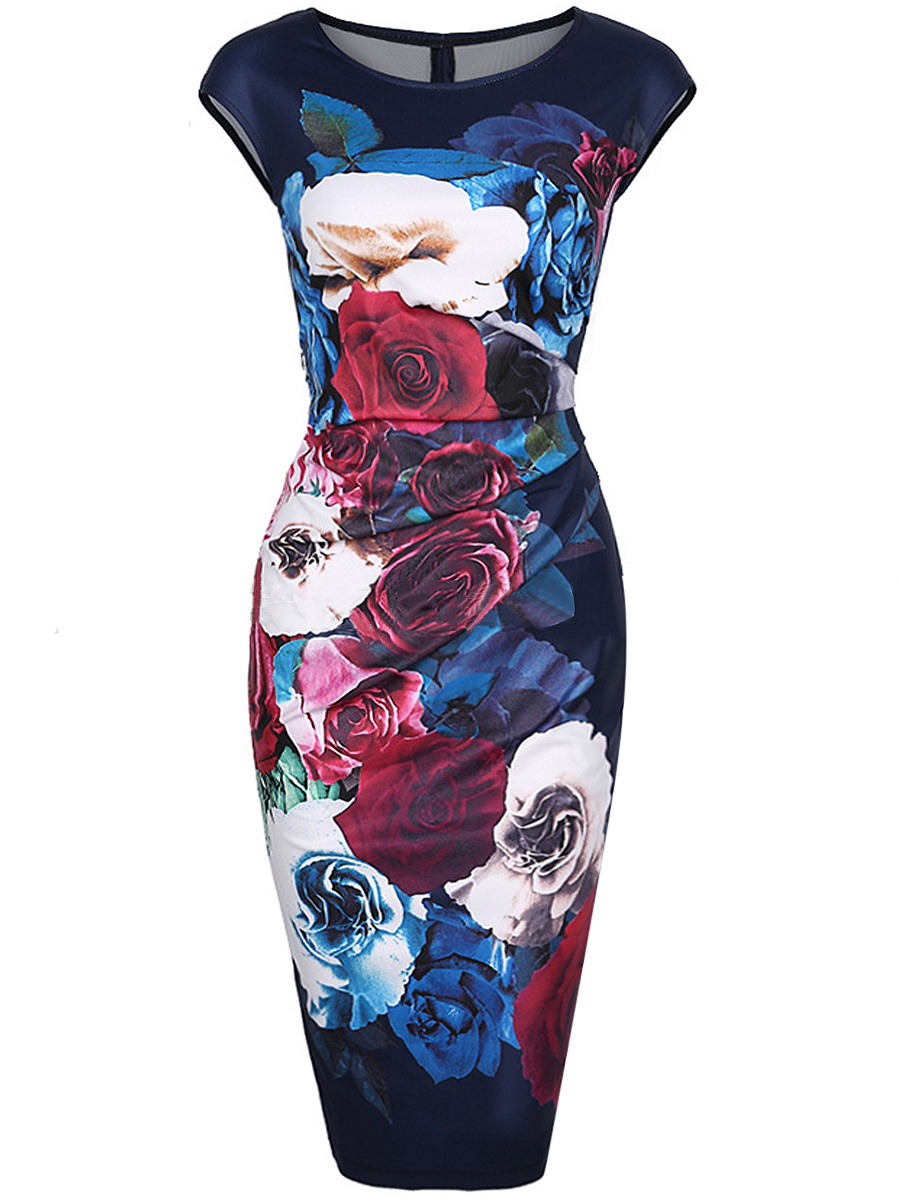 Graceful Round Neck Floral Printed Midi Bodycon Dress