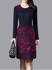 Round-Neck-Patchwork-Printed-Woolen-Bodycon-Dress