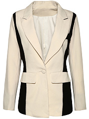 Modern Color Block Notch Lapel Single Button Blazer