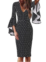 Elegant V-Neck  Polka Dot Printed Bodycon Dress