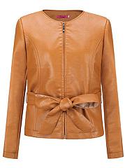 Collarless-Belt-Plain-PU-Leather-Jacket