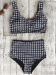 Plaid  High-Rise Swimwear