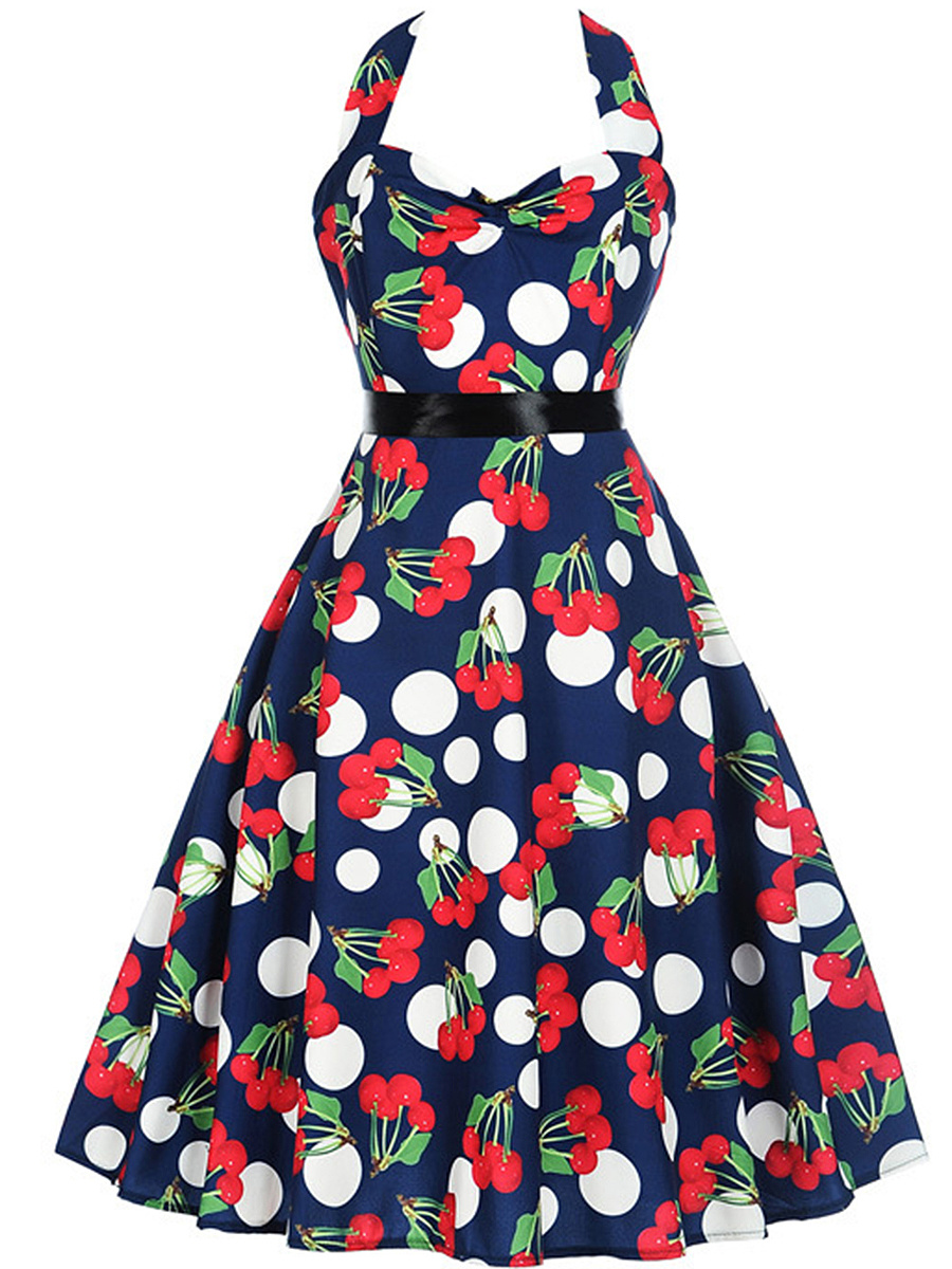 Halter Polka Dot Cherry Printed Midi Skater Dress
