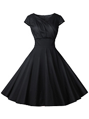 V-Neck  Ruched  Plain Skater Dress