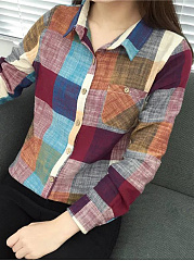 Colorful Plaid Patch Pocket Blouse