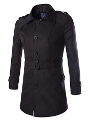 Lapel-Solid-Single-Breasted-Belt-Men-Trench-Coat