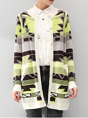 Collarless-Geometric-Long-Sleeve-Cardigans